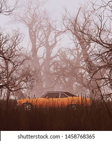 Lost car,An old vehicle parked in creepy forest,3d rendering for book cover