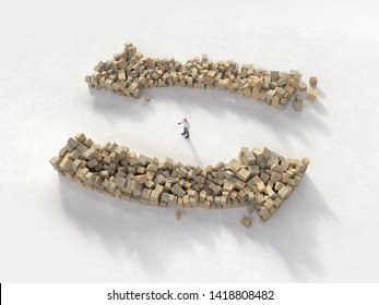 lost man between piles of parcel boxes, 3d illustration