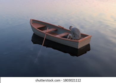 lost man in boats, 3d illustration