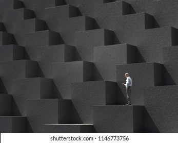 lost man on the stairs, 3d illustration