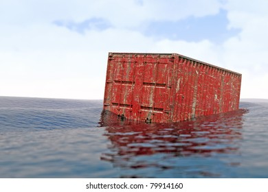 lost maritime freight container / lost container / It is estimated that each year about 10,000 containers fall into the sea