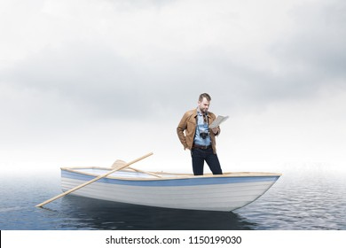 Lost young tourist man looking at a map standing on a rowing boat in the sea. Cloudy sky. Concept of losing your way in business and life. Challenging problem solving. 3d rendering mock up