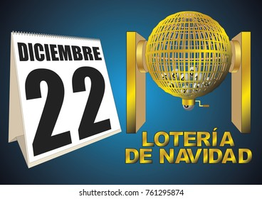 loteria de navidad diciembre. golden lottery cage with numbers. National special christmas lottery.