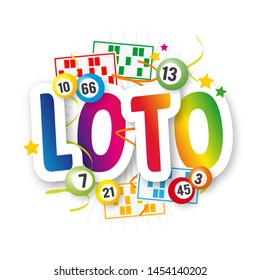 Loto (Bingo in french language) with lottery balls and loto card