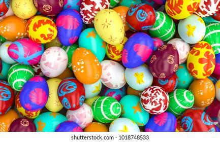 lots of artistic painted easter eggs 3d rendering image