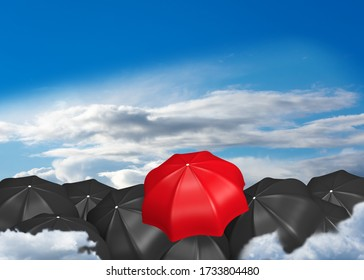 Lots of black umbrellas and a red one that sticks out. 3d rendering
