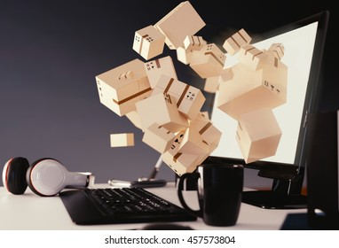 Lots of boxes jumping out of computer screen. 3D illustration of online shopping or delivery.