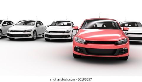 un sacco di auto su bianco