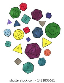 Lots of colorful dices for rpg, tabletop or board games scattered on white background.