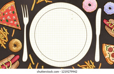 lots of Foods and blank space for writing in Center