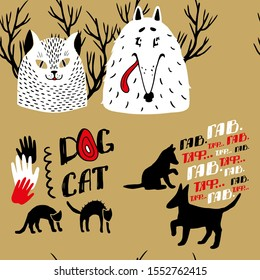 Lots of funny dogs and cats illustration. Cats and dogs in vector. Cute animals.