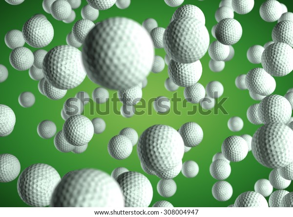 Lots of Golf balls flying through the air on green background. Sports texture, pattern, background