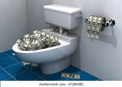 lots of hundred dollar bills in a toilet bowl about to be flushed