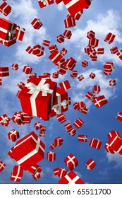Lots of red gift boxes flying in the air