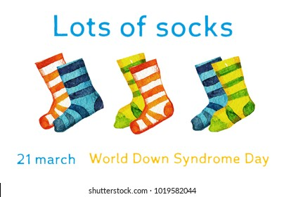 Lots of socks hand drawn illustration with pairs  for Down syndrome day on white background