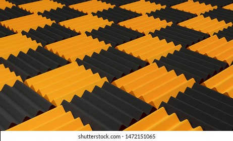 Lots of square soft acoustic foam rubber panels texture, floor background pattern, acoustic treatment and sound absorption concept, music background, digital render, black and yellow, 3D rendering