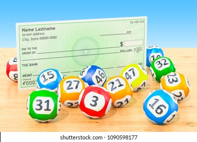 Lottery balls with blank bank check on the wooden table, 3D rendering