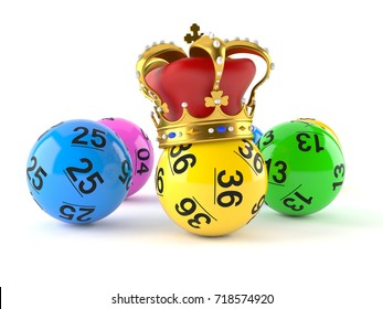 Lottery balls with crown on white background. 3d illustration