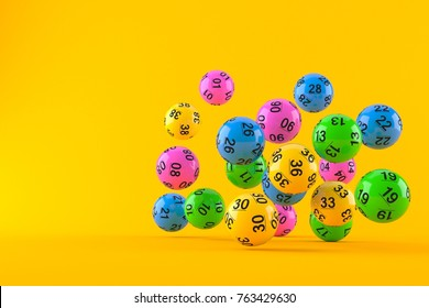Lottery balls isolated on orange background. 3d illustration