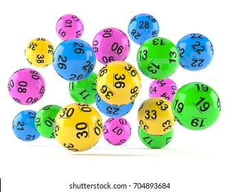 Lottery balls isolated on white background. 3d illustration