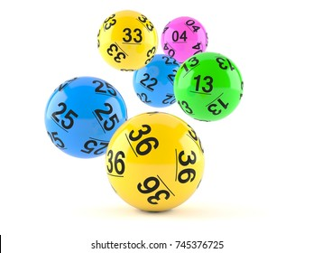 Lottery balls on white background. 3d illustration