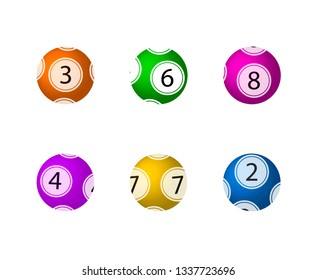 Lottery Balls Set, Isolated on White Background Colorful Balls.