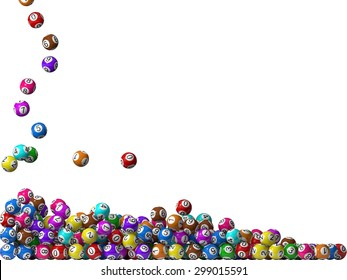lottery balls stack, filling from left side.