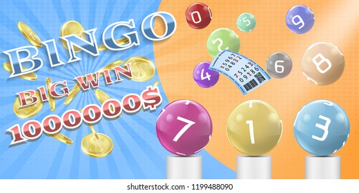 lottery bingo game poster, banner template illustration. Lotto keno, bingo gambling advertising background with realistic 3d sphere colored balls with numbers, tickets, big million dollar win.