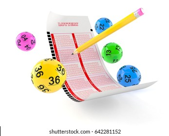 Lottery blank ticket with lotto balls on white background. 3d illustration