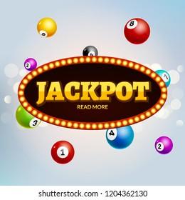 Lottery Jackpot bingo colorful background. Lotto gambling leisure ball. Jackpot winner.