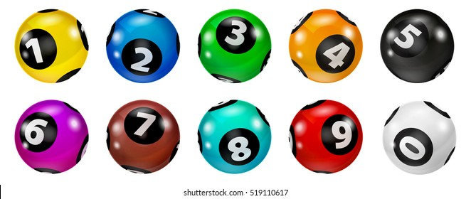 Lottery Number Balls. Colored balls isolated. Bingo ball.  Lotto concept. Bingo balls set.