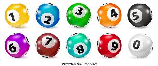 Lottery Number Balls. Colored balls isolated. Bingo ball. Set of colored balls. Realistic Illustration.