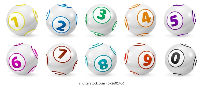 Lottery number balls set. Colored balls isolated. Bingo ball.