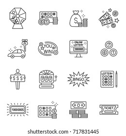 Lottery and profit fortune games icon set isolated on white background. Keno. Finance success rich, lottery and award, . Outline illustration of lottery concept for web design. Editable stroke.