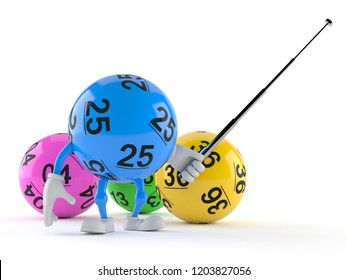 Lotto ball character aiming with pointer stick isolated on white background. 3d illustration