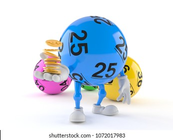 Lotto ball character with stack of coins isolated on white background. 3d illustration