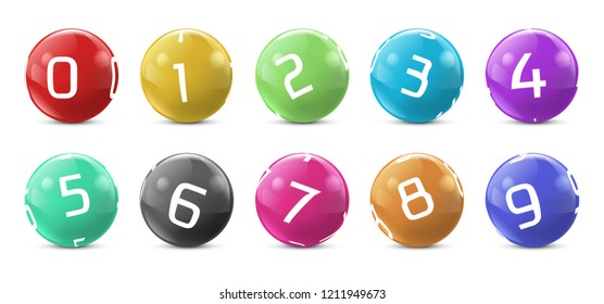 lotto colored balls with numbers. Lottery bingo gambling spheres. Snooker, billiard sport game realistic isolated illustration with reflections on white background.