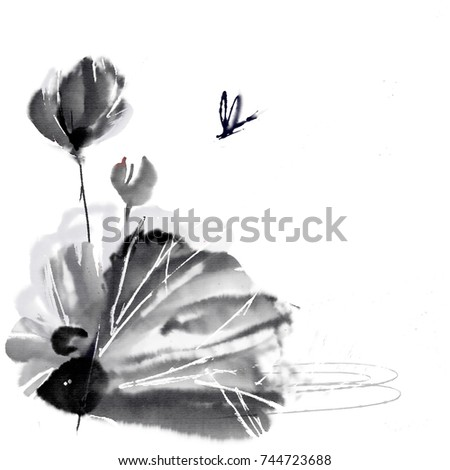 Lotus Dragonfly Traditional Chinese Brush Painting Hand Stock