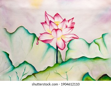 Lotus Flower in the lake among leaves beautiful painting oil on canvas