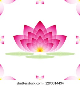 Lotus Flower. Pink profile of water Lily on a white background with three leaves, geometric pattern