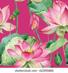 lotus flowers seamless pattern. watercolor botanical illustration.