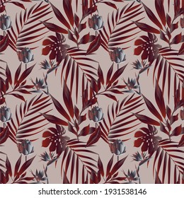 Lotus flowers surrounded by palm leaves seamless pattern. Illustration with tropical plants.