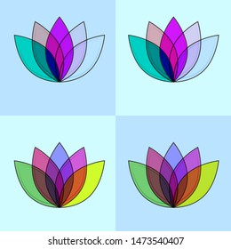 Lotus four color material and minimal icon logo set in blue and gently blue.