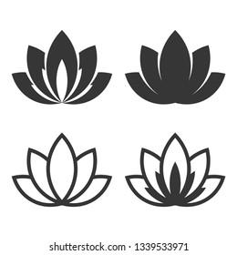 Lotus Icon Set on White Background.