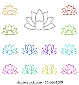 Lotus multi color icon. Simple thin line, outline of beauty icons for ui and ux, website or mobile application on white background