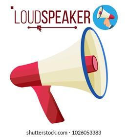 Loudspeaker Icon. Megaphone, Bullhorn Symbol. Promotion Banner Design Element. Isolated Flat Cartoon Illustration