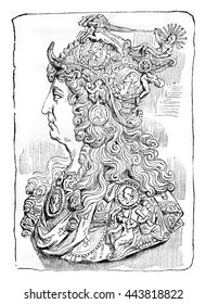 Louis XIV in ballet suit, after a medallion, vintage engraved illustration. Magasin Pittoresque 1836.
