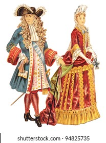 Louis XIV of France and french noblewoman (1680-1700) / vintage illustration from Meyers Konversations-Lexikon 1897