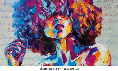 Louise - oil painting. Conceptual abstract picture of a beautiful girl. On the background is written text from a book. Conceptual abstract closeup of an oil painting and palette knife on canvas.