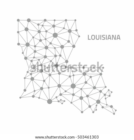 Louisiana Dot Grey Outline Polygonal Map Stock Illustration ...